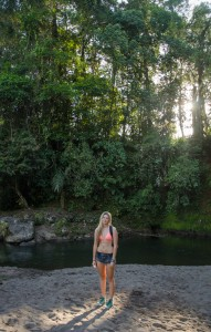 Morning river swim in Saraquipi, Costa Rica