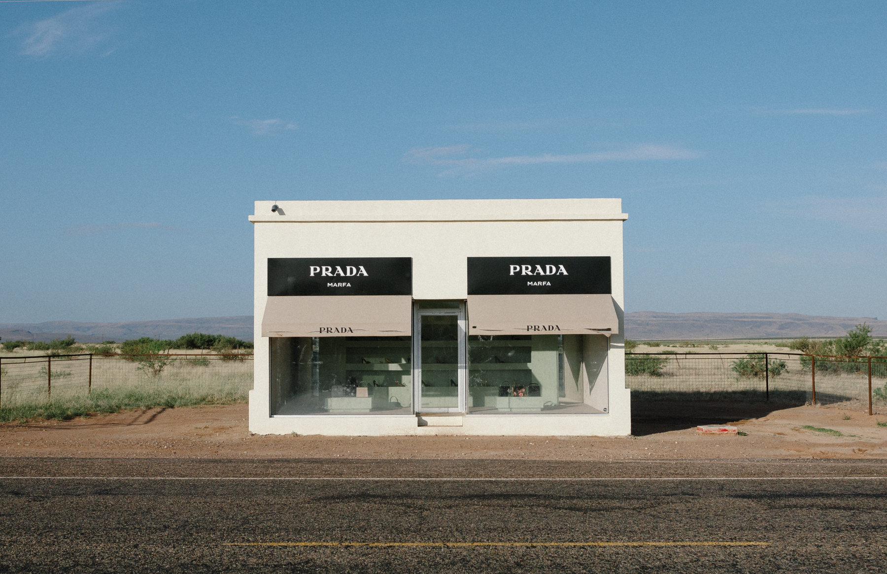 Prada Marfa is probably the world's most famous Prada shop - except it isn't a shop, it's an art installation (complete with Prada handbags and shoes) on a isolated stretch of road outside of Marfa. It's bizarre and wonderful.