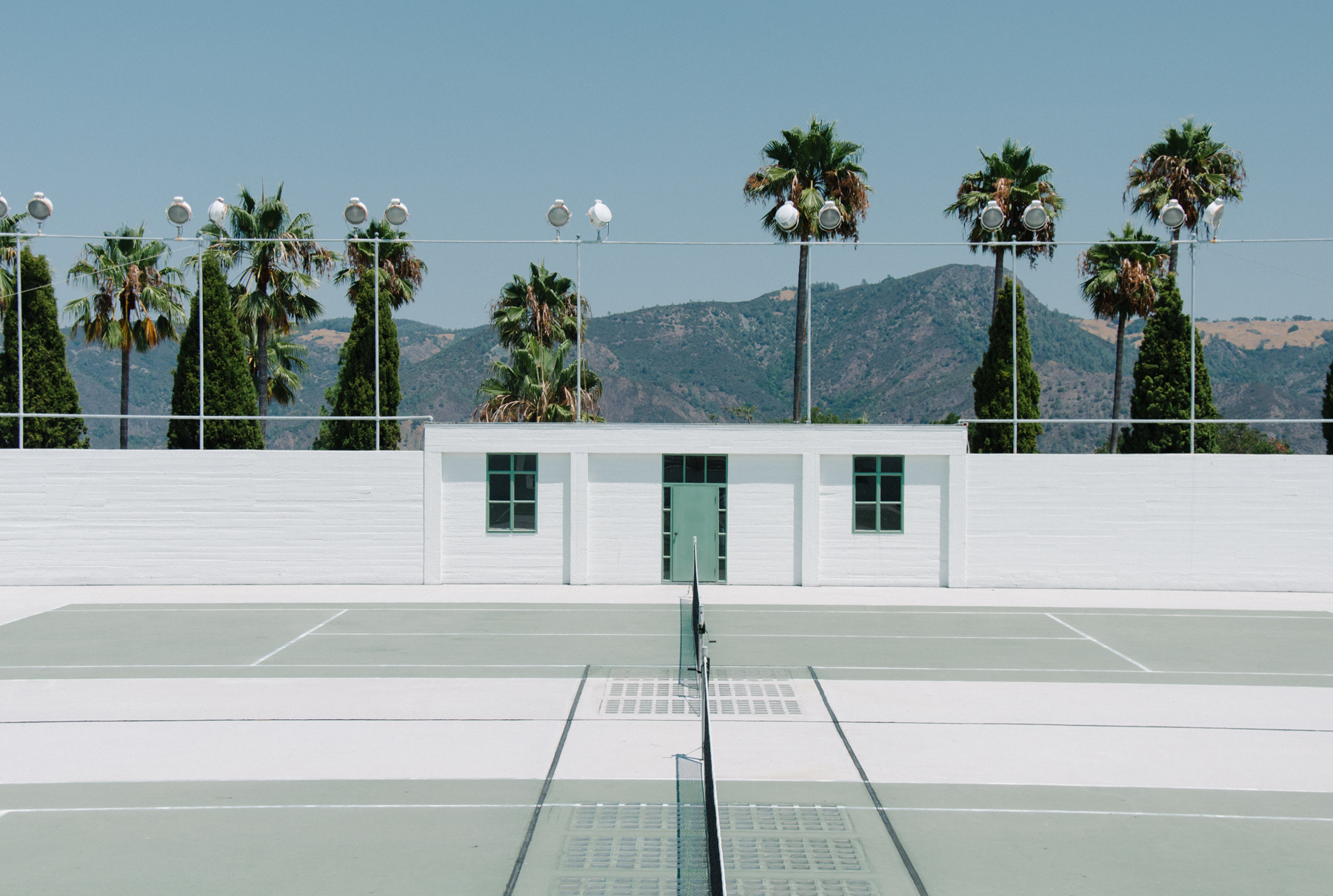The tennis court is the only minimalist thing at the architectural craziness that is Hearst Castle.