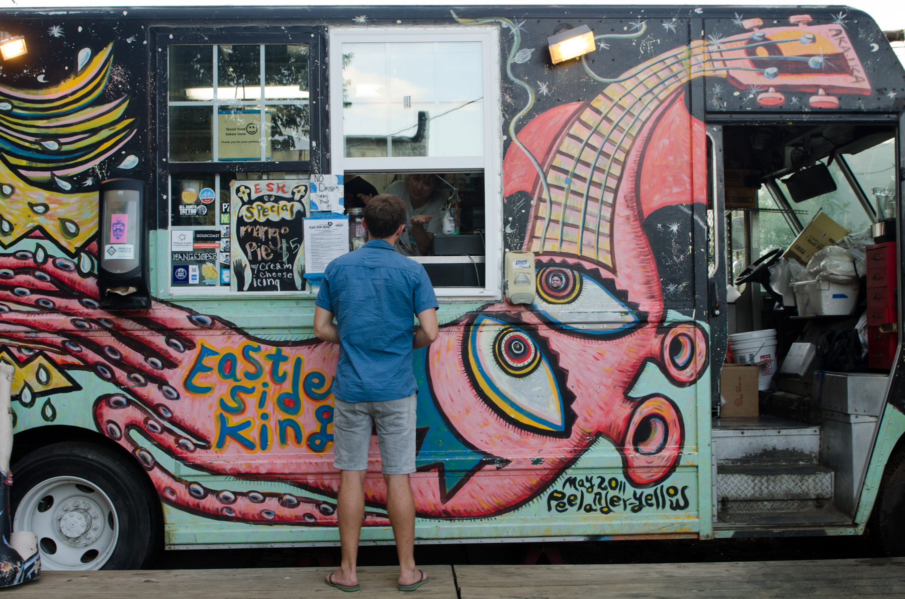 East Side King, an award-winning food truck serving up incredible Asian food from the courtyard of a dive bar - just one of Austin's 1000 food trucks.