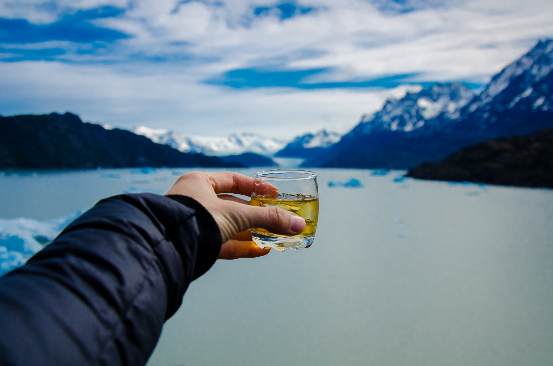 Whisky at Lago Grey, Torres del Paine National Park