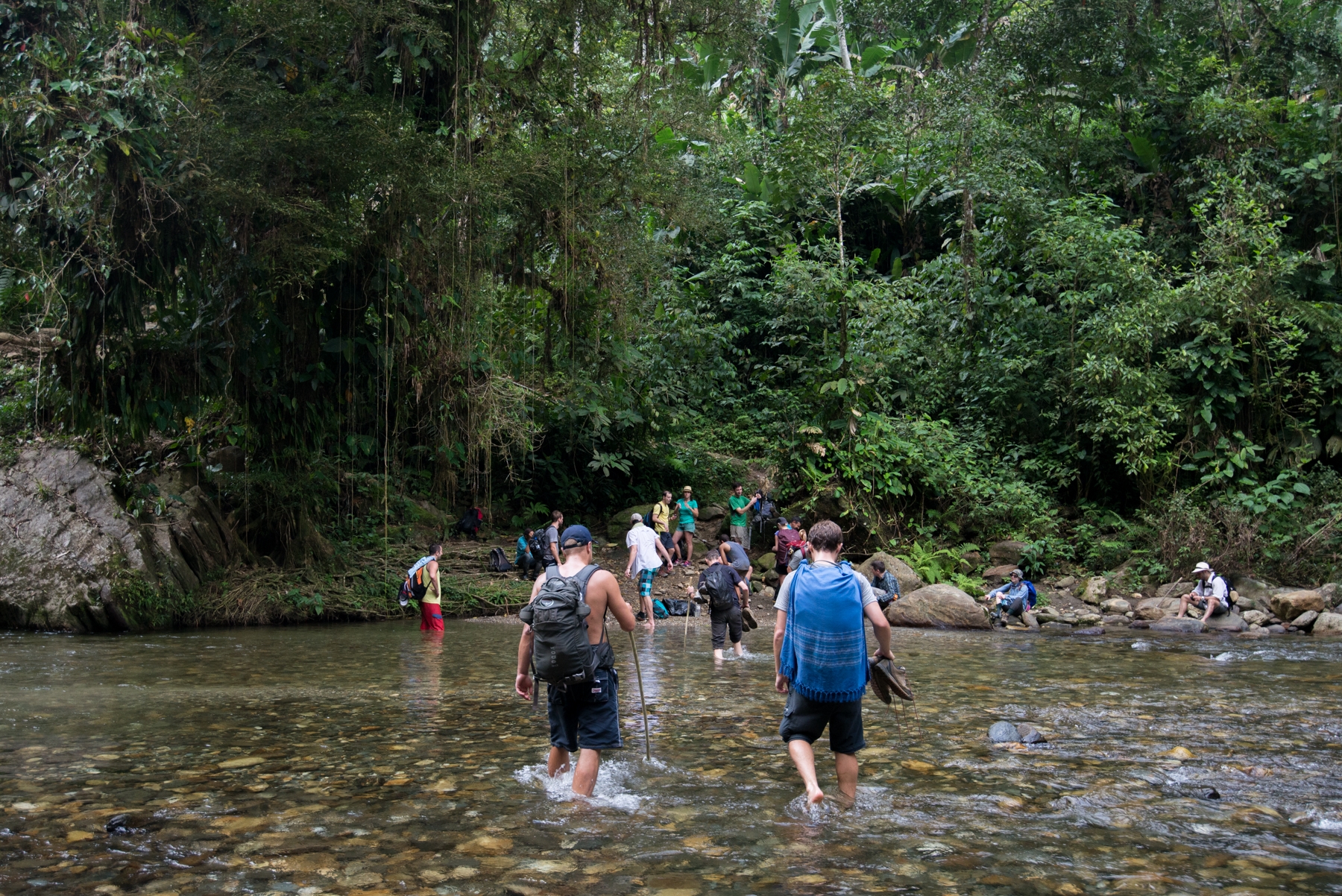 River crossing, Lost City trek, Colombia