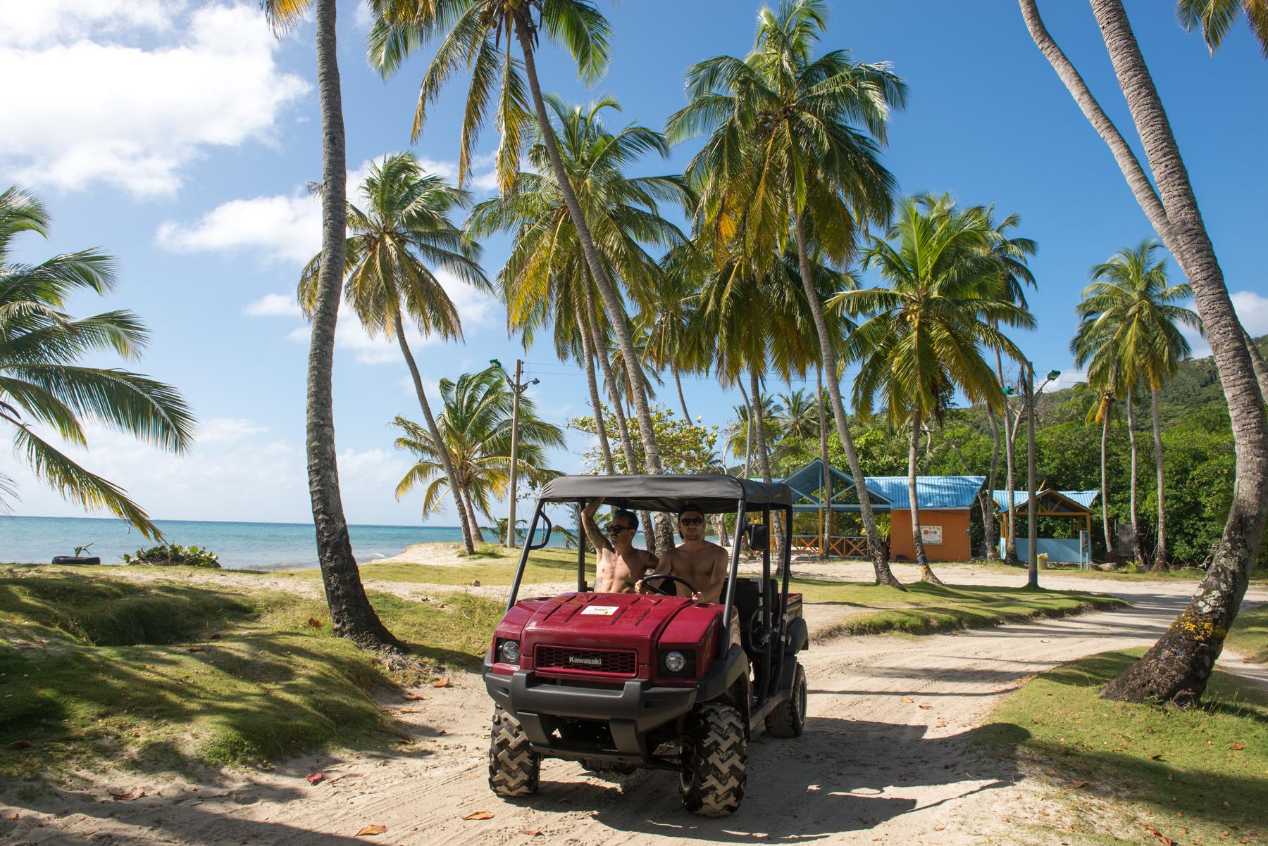 Hiring a golf cart, Providencia Island, Colombia